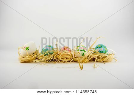 Midway, Netherlands - january 14 2016: Easter eggs on a nest of raffia