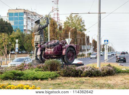 Monument incorruptible road policeman. Belgorod. Russia