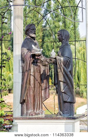 Monument to St. Prince Peter and Fevronia - patron of the hearth. Belgorod. Russia