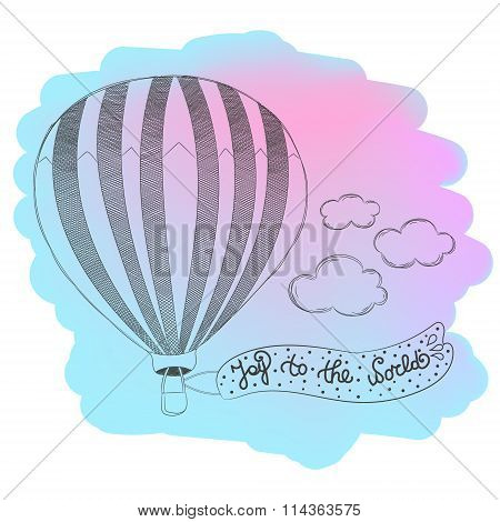 Hand drawn airballoon design with quote