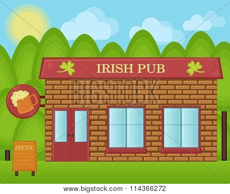 Vector cartoon illustration. Irish beer pub building concept. Irland tavern house landscape.