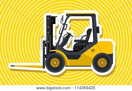 Yellow fork lift loader. Loading of goods.