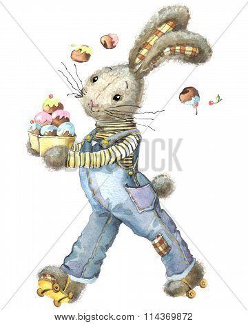Cute rabbit. Watercolor bunny. Cute bunny for greetings card