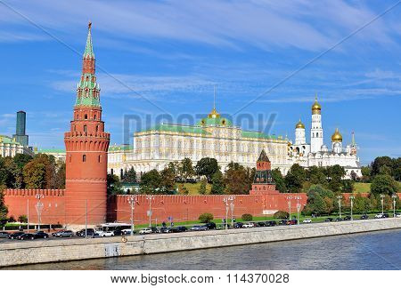 MOSCOW RUSSIA - OCTOBER 4: View of the Kremlin and riverside of Moscow city centre on October 4 2015. Moscow is the capital and largest city of Russia poster