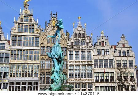 Monument On Central Square Of Antwerpen