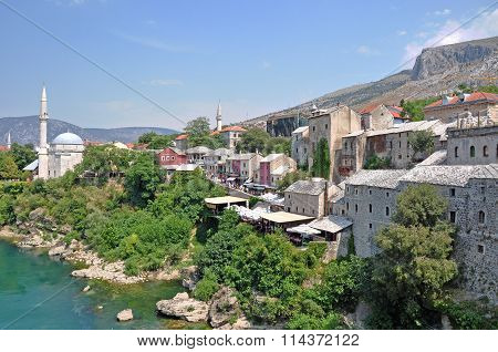 View Of The Historical Centre Of The Old Town Mostar, Bosnia