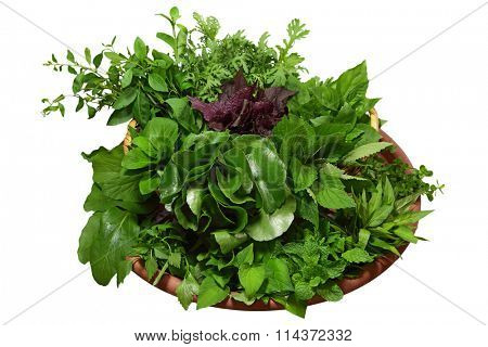 Homegrown herbs, vegetable isolated on white background