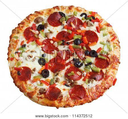 Whole baked pizza isolated on white background