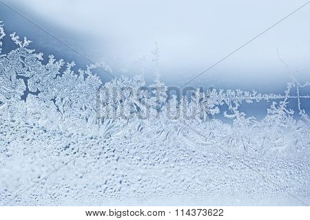 Real natural snow flakes frost for winter background