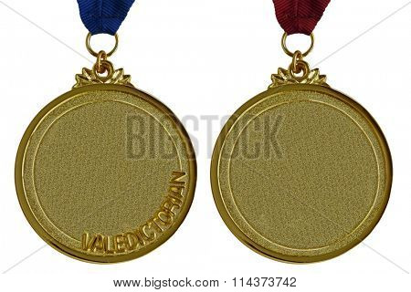 Gold and valedictorian graduation medals isolated on white background