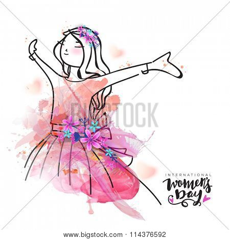 Creative illustration of young happy girl with splash and flowers for International Women's Day celebration.