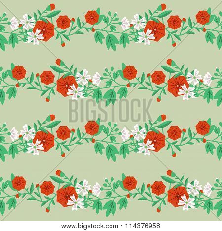 Decorative floral pattern with bindweed and mallow
