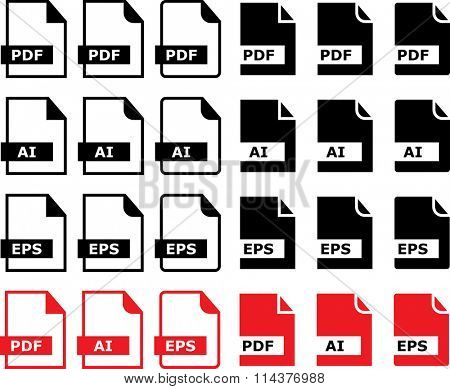 File Icon Pdf Ai Eps Symbol Vector Illustration