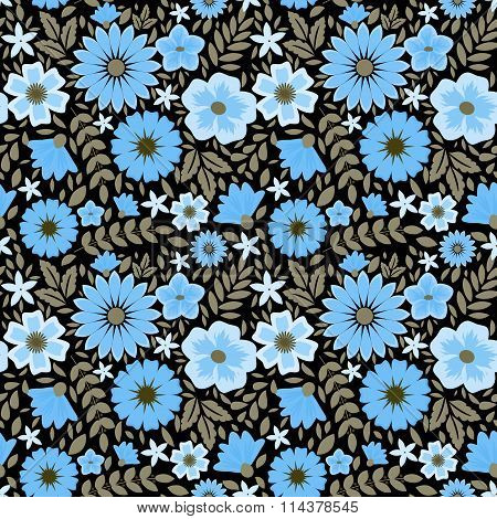 Seamless vector pattern with decorative flowers blue on black