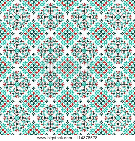 Seamless pattern with abstract ornament red blue and white