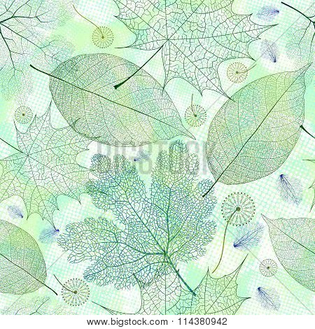 Seamless pattern with green skeleton leaves. Vector, EPS10.