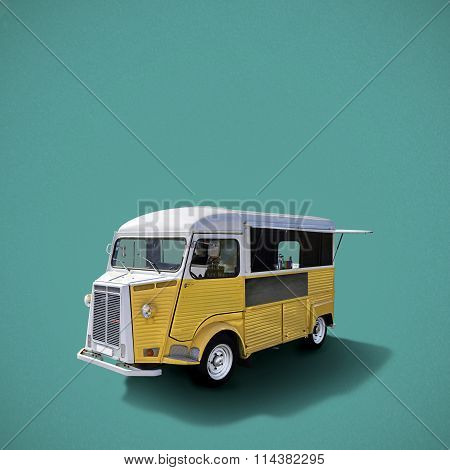 Food Truck On Turquoise Background