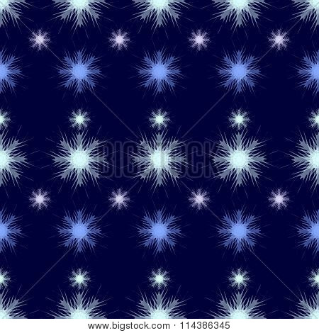 Vector Illustration In Shades Of Blue With Transparent Snowflakes.