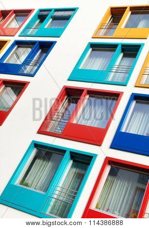 colorful facade of modern apartment building