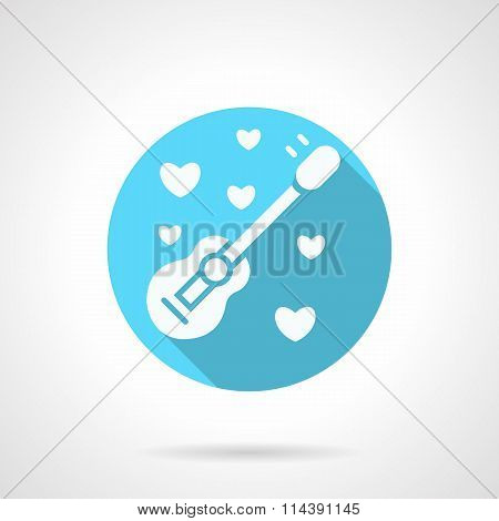 Round blue serenades flat vector icon