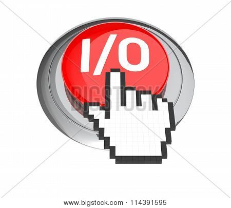 Mouse Hand Cursor On Red I/o Button. 3D Illustration.