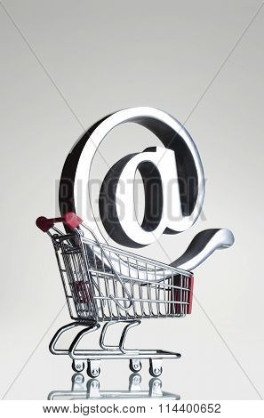 At symbol in a shopping cart