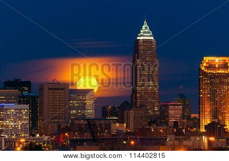 Moon Rising Over Cleveland
