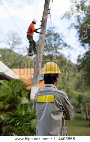 Electrician lineman working on electric postt power pole