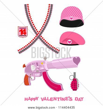 Weapons Cupid Set. Military Love Accessories. Breaking Guarantor With Love. Cartridge Belt Love. Pin