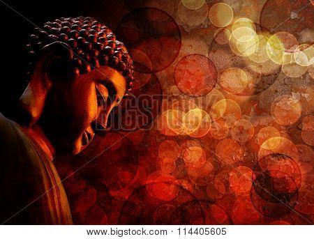 Bronze Red Zen Buddha Statue Meditating