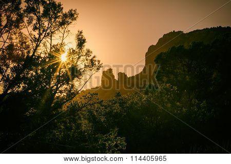 Sedona Sunset Rock Formation Landscape