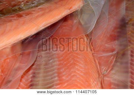 Close up of frozen fillets