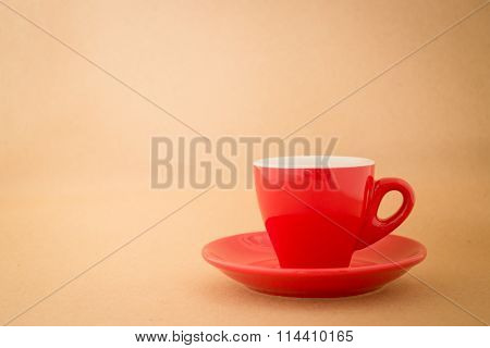 Beautiful Red Cup Of Coffee On Vintage Background