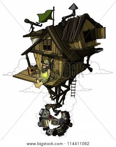 Pleased man sits in his secluded house. High above the city. Colored