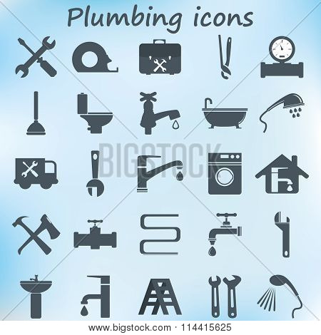 plumbing objects and tools icons - vector icon set poster