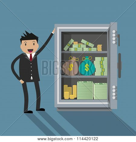 Businessman with safe