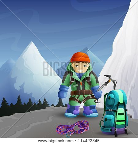 Mountain climber cartoon character background poster