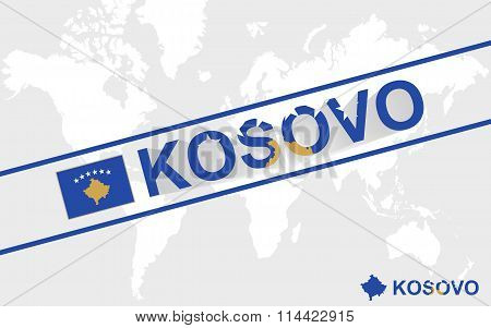 Kosovo map flag and text illustration on world map poster