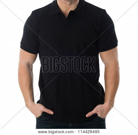 Man In Black Tshirt Standing Against White Background
