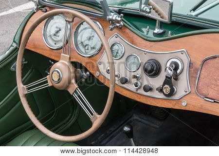 Retro Vintage Mg Car Driver's Seat And Dashboard