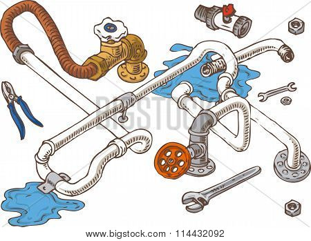 Sanitary Engineering Composition with Pipes, Pliers and Wrenches