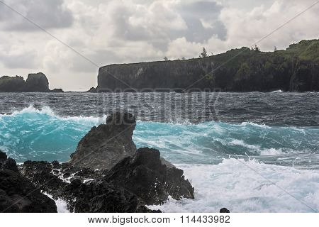 Waves splashing on the rocks along the road to Hana, Maui, Hawaii