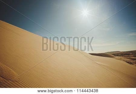 Sand Dunes At Sunset Casting Nice Shadows In Muine, Vietnam