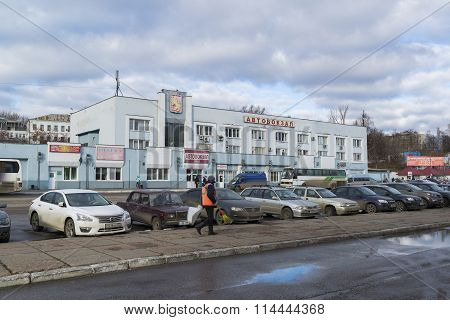 VLADIMIR RUSSIA - November 05.2015. The bus station and car parking in front of him