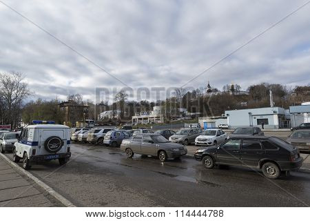 VLADIMIR RUSSIA - November 05.2015. Parking in front of the railway station