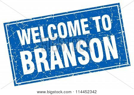 Branson Blue Square Grunge Welcome To Stamp