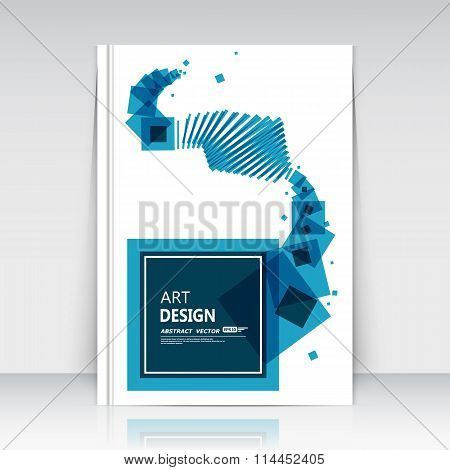 Abstract composition. Blue squares, lines art. Box blocks text frame icon. Quadrate logo, trademark style. A4 brochure title page. Creative ad construction. Official banner. Minimalistic modern flyer