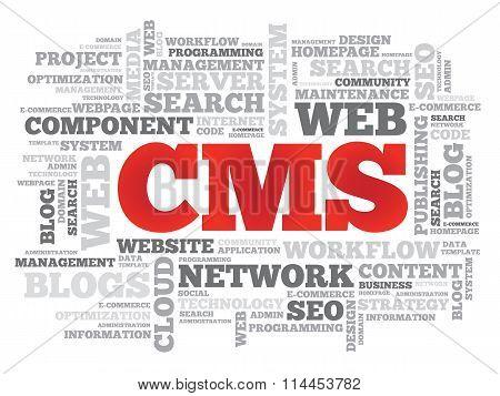CMS Content Management System word cloud business concept poster