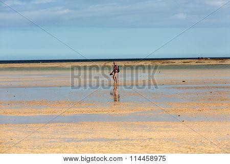 FUERTEVENTURA, SPAIN - SEPTEMBER 14, 2015: Beach Playa de Sotavento Canary Island Fuerteventura Spain