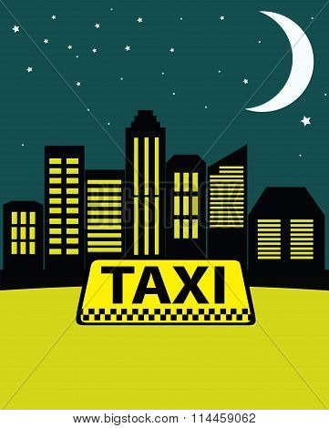 Night Taxi In The City On The Background Of Skyscrapers.